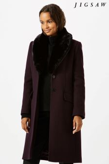 Jigsaw Purple Modern Wool Fur Collar Coat