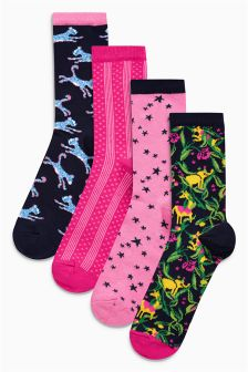Pattern Ankle Socks Four Pack