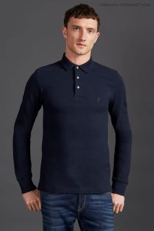 French Connection Navy Long Sleeve Polo