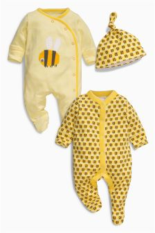 Bee Sleepsuits Two Pack With Hat (0mths-2yrs)