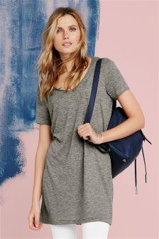 Linen Mix Longline T-Shirt