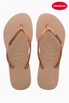 Rose Gold Havaianas® Slim Logo Metallic Flip Flop