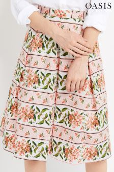 Oasis Pink Summer Floral Stripe Skirt