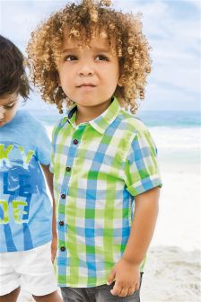 Multi Short Sleeve Fluro Check Shirt (3mths-6yrs)