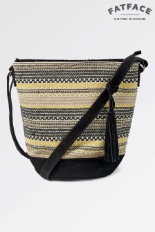 Fat Face Black Broken Stripe Woven Cross Body Bag