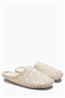 Embroidered Jersey Mule Slippers