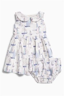 Pink/Green Boat Prom Dress And Matching Knicker Set (0mths-2yrs)