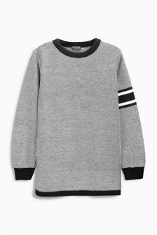 Black & White Sporty Longline Crew Neck Top (3-16yrs)
