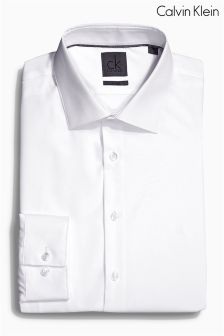 White Calvin Klein Fitted Cotton Shirt