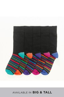 Stripe Footbed Socks Five Pack