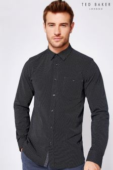 Ted Baker Navy Pin Dot Shirt