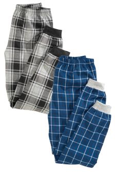 Two Pack Check Drop Crotch Pyjama Bottoms (3-16yrs)