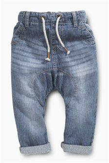 Light Blue Denim Ticking Pull-On Jeans (3mths-6yrs)