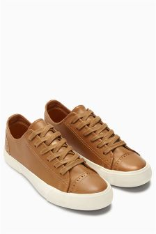 Tan Worn Baseball Lace-Ups