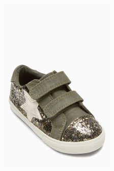 Khaki Glitter Low Tops (Younger Girls)
