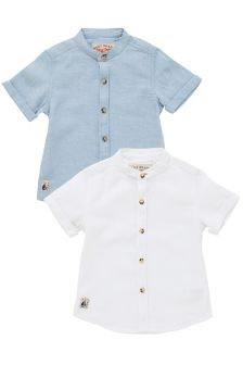 Linen Blend Grandad Shirts Two Pack (3mths-6yrs)