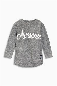 Grey Awesome Long Sleeve Top (3mths-6yrs)