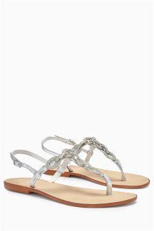 Chain Trim Toe Thong Sandals