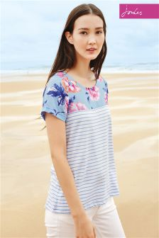 Haze Blue Joules Suzy Stripe Jersey Woven Mix T-Shirt
