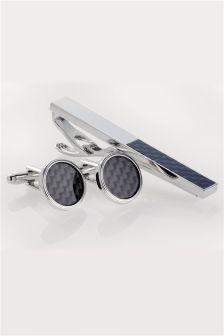 Grey Carbon Fibre Cufflinks And Tie Clip Set