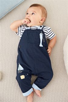 Navy Boat Dungarees With Bodysuit (0mths-2yrs)