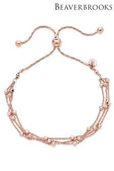 Beaverbrooks Silver Rose Gold Plated Triple Strand Bracelet