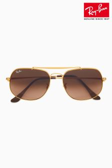 Ray-Ban® Pink/Brown The General Aviator Sunglasses