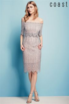 Coast Silver Marsha Lace Bardot Dress