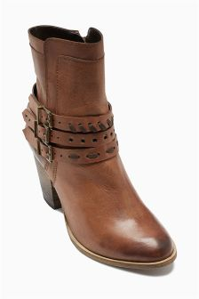 Leather Stud Strap Cuban Boots