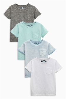 Blue Short Sleeve Plain T-Shirts Four Pack (3mths-6yrs)