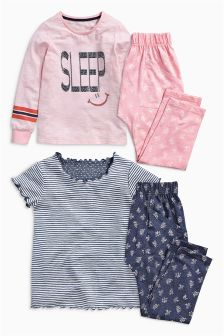 Pink/Navy Sleep Pyjamas Two Pack (3-16yrs)