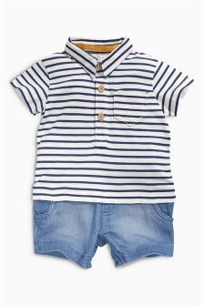 Ecru/Navy Stripe Romper (0mths-2yrs)