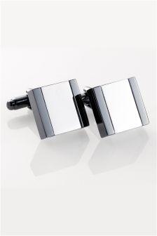 Silver (Metal) Gunmetal Cufflinks