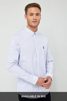 Long Sleeve Striped Stretch Oxford Shirt