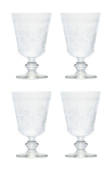 Set Of 4 Embossed Floral Wine Glasses