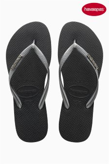 Black/Grey Havaianas® Slim Logo Metallic Flip Flop