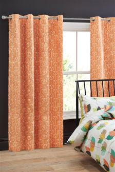 Cotton Rich Retro Tulip Eyelet Curtains