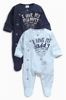 Blue Mum And Dad Sleepsuits Two Pack (0mths-2yrs)