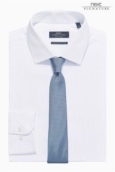 White Signature Striped Shirt And Tie Set