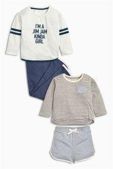 Ecru/Navy Jim Jam Long Sleeve Pyjamas Two Pack (3-16yrs)