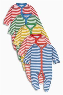 Stripe Sleepsuits Five Pack (0mths-2yrs)