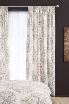 Elegant Damask Pencil Pleat Lined Curtains