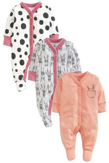 Three Pack Nordic Bunny Sleepsuits (0mths-2yrs)