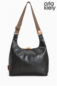 Orla Kiely Black Leather Stem Embossed Midi Sling Bag