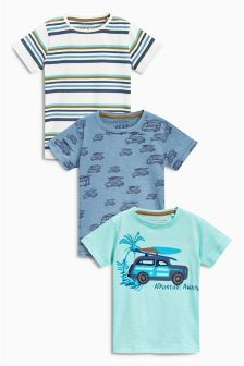 Blue Car Short Sleeve T-Shirts Three Pack (3mths-6yrs)