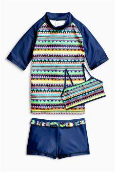 Aztec Print Three Piece Sunsafe Suit (3-16yrs)