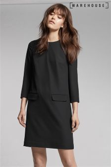 Warehouse Black Pocket Front Crepe Dress