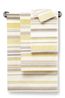 Ochre And Natural Marled Stripe Towel