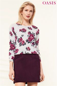 Oasis Grey Kimono Print Knit