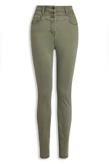 High Waist Button Skinny Jeans
